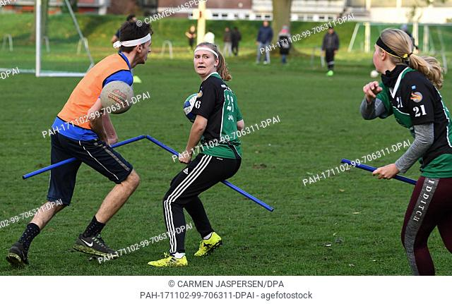 Players of the Quidditch club ATS Buntentor practice during a training session in Bremen, Germany, 25 October 2017. Quidditch is a full-contact sport based on...