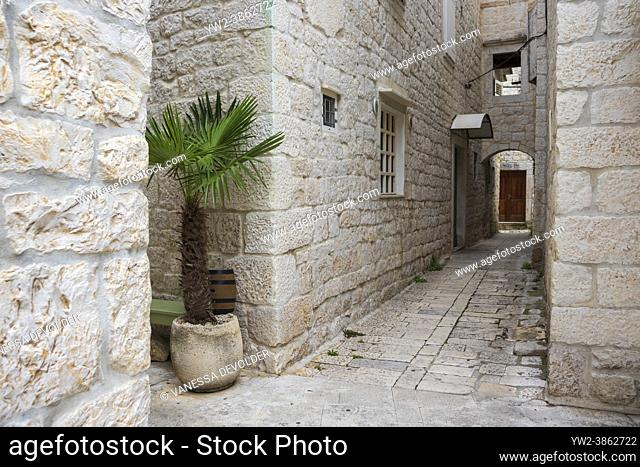Streetview with old houses in the centre of Trogir, Split-Dalmatia, Croatia, Europe