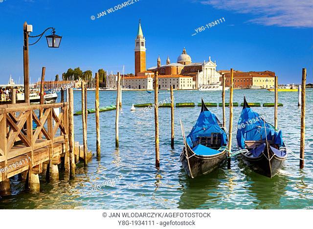 Venice - Grand Canal (Canal Grande), venetian gondolas at the pier San Marco, Venice, Italy, UNESCO