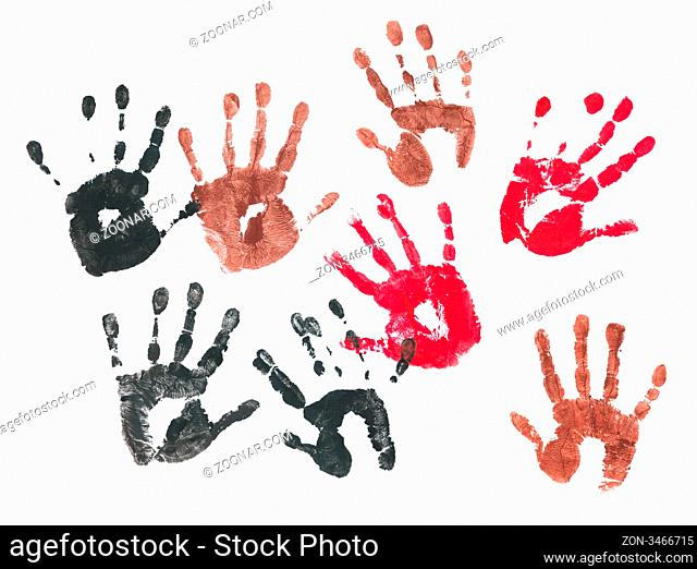 Spooky hands print over white background