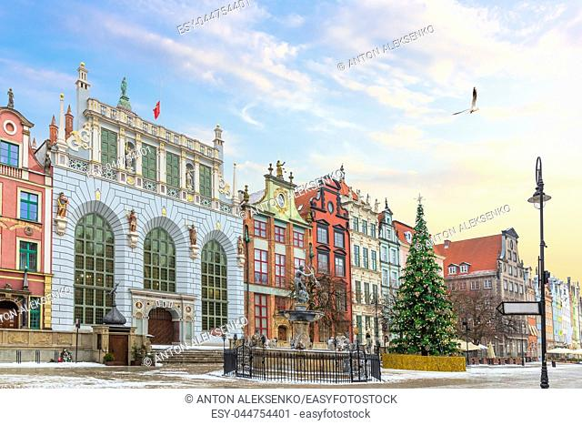 View on the Neptune's Fountain and the the Artus Court facade in Long Market, Gdansk, Poland, no people