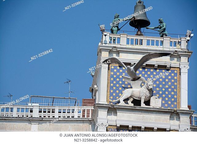 The top of the Clock Tower - Torre dell'Orologio -.Piazza di San Marco. Venezia, Veneto, Italy