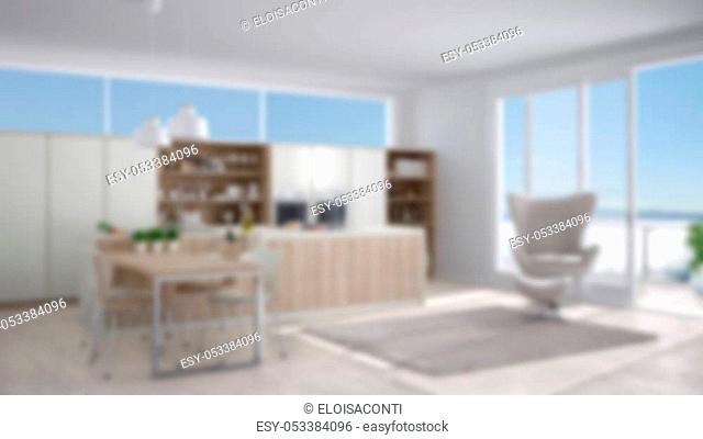 Blur background interior design, modern white kitchen with wooden details, big window with sea or lake panorama