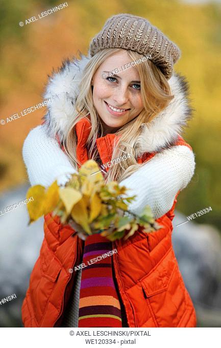 portrait of woman in autumn landscape
