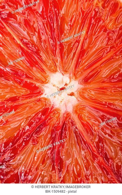 Close-up of a sliced blood orange