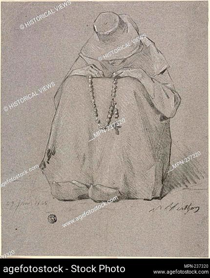Woman with a Rosary - 1865 - Unknown Artist French, 19th century - Origin: France, Date: 1865, Medium: Black chalk, heightened with touches of white chalk