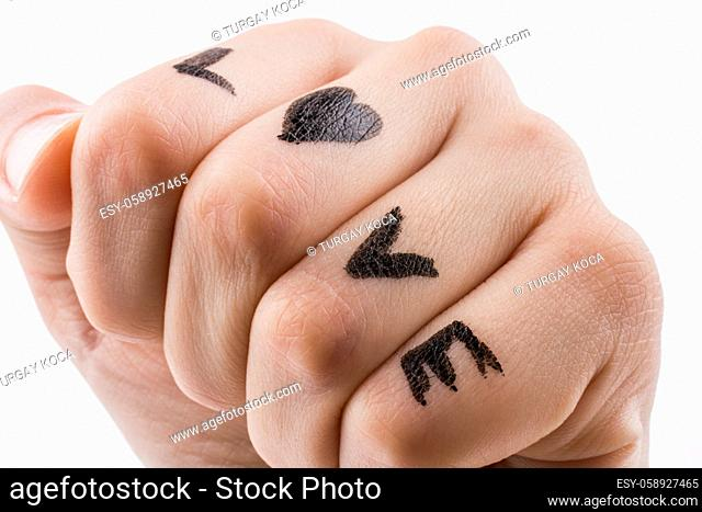 Love with Hearts drawn on hand on a white background