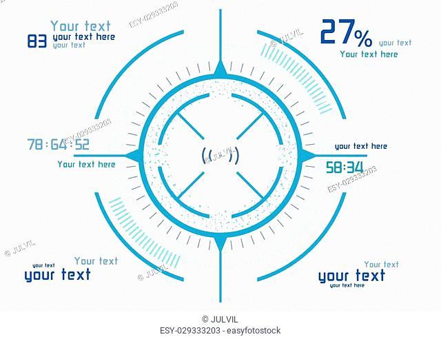 Futuristic blue infographics on white background
