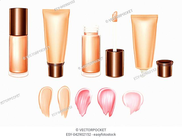 Vector 3d realistic set of lipsticks or foundation - liquid, cream, smears of product in pastel, glossy, bright colors. Tube, brush, container