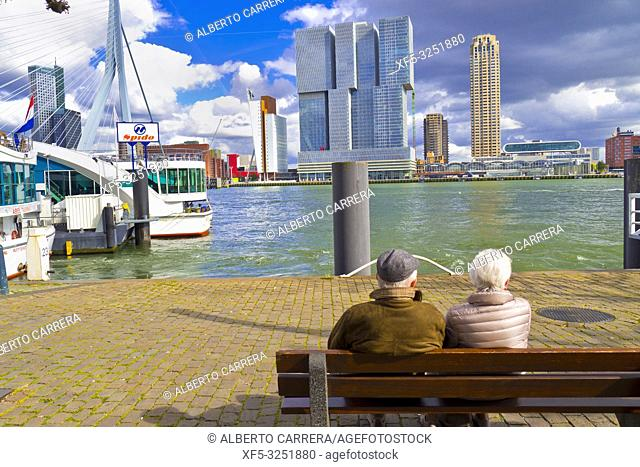 Nieuwe Maas River, Modern Architecture, Rotterdam, Holland, Netherlands, Europe