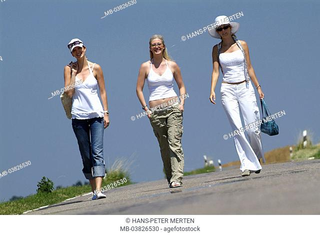 Women, three, young, country road, going, cheerfully, summer