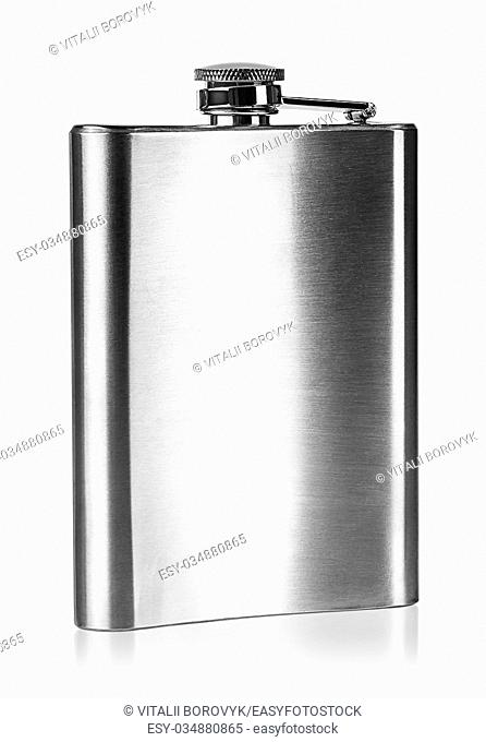 Stainless steel hip flask rear view isolated on white background
