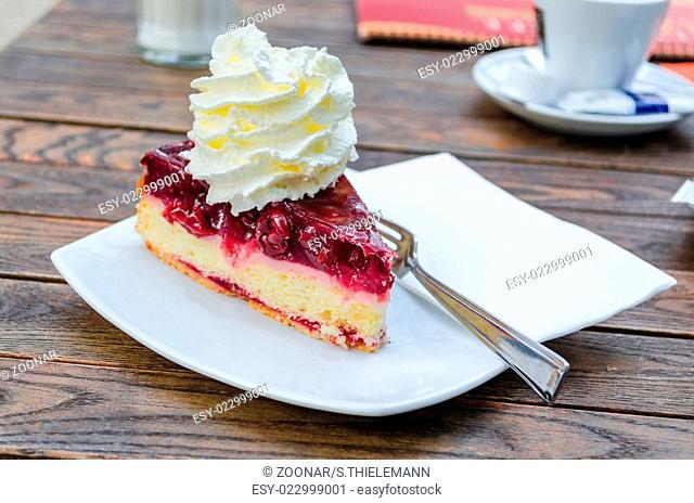 Cherry cake with cream
