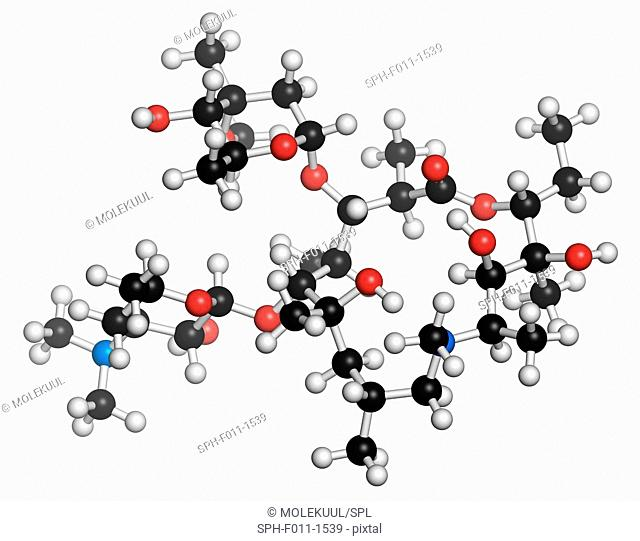 Azithromycin antibiotic drug (macrolide class), chemical structure. Atoms are represented as spheres with conventional color coding: hydrogen (white)