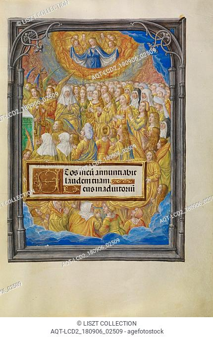 Female Martyrs and Saints Worshipping the Lamb of God; Master of James IV of Scotland (Flemish, before 1465 - about 1541); Bruges