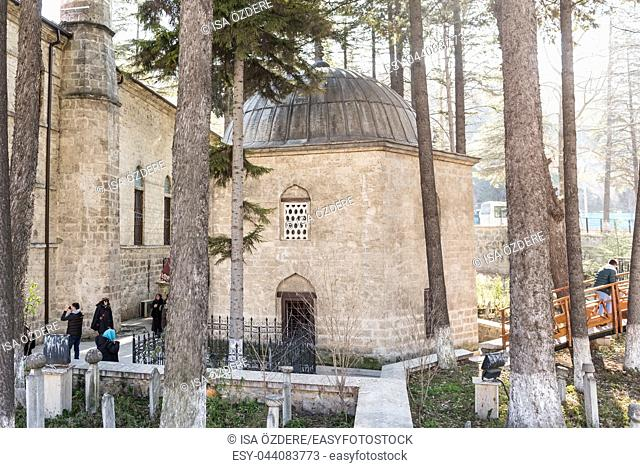 Unidentified people visit Ghazi Suleyman,Suleiman Pasha Mosque and Akshamsaddin tomb in Bolu,Turkey. 27 January 2018