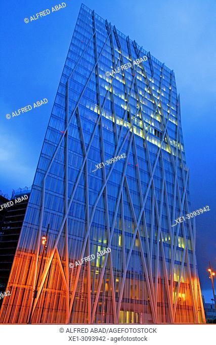 Telefonica building at dawn, enclosure Forum, Barcelona, Catalonia, Spain