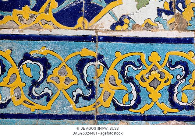 Polychrome tile decoration, Imam Mosque (17th century) (Unesco World Heritage List, 1979), Isfahan, Iran