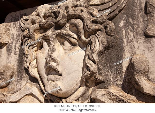 Medusa head in the Temple of Apollo at the Archeological area of Didim, Didyma, Aydin Province, Turkey, Europe