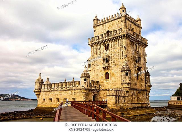 Belem Tower, Tower of Saint Vincent, Fortification, Torre de Belém, Tagus River mouth, Rio Tejo, Santa Maria de Belém district, Lisbon, Portugal, Europe