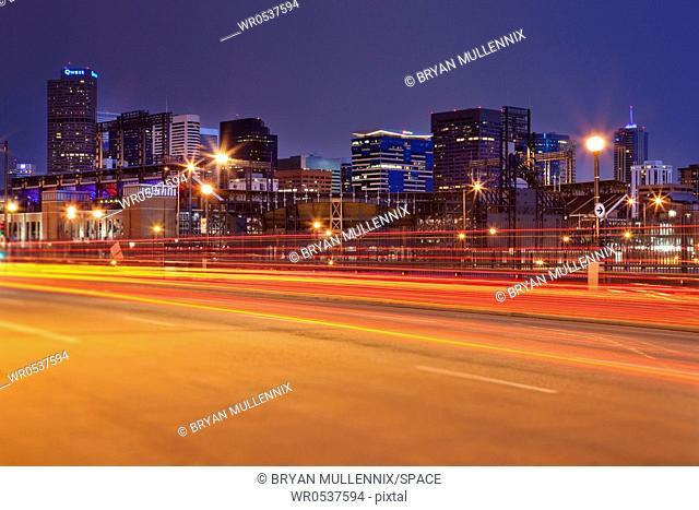 Denver Skyline and Traffic