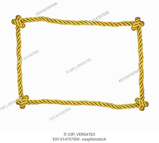 Frame of golden rope isolated
