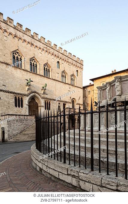 Palazzo dei Priori and Fontana Maggiore in Perugia, Italy. The town hall of Perugia, Palazzo dei Priori dates from the 13th and early 14th centuries