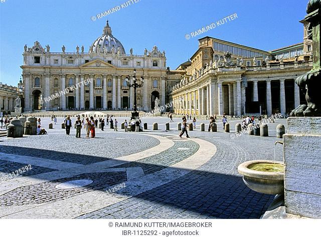 St. Peter's Basilica, Basilica di San Pietro, drinking water fountain, Saint Peter's Square, Piazza San Pietro, Vatican City, Rome, Latium, Italy, Europe