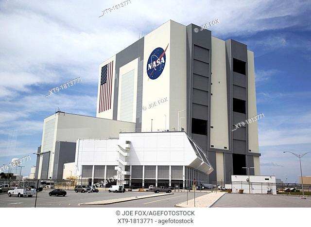 exterior of the vab vehicle assembly building and launch control center Kennedy Space Center Florida USA photographed through window