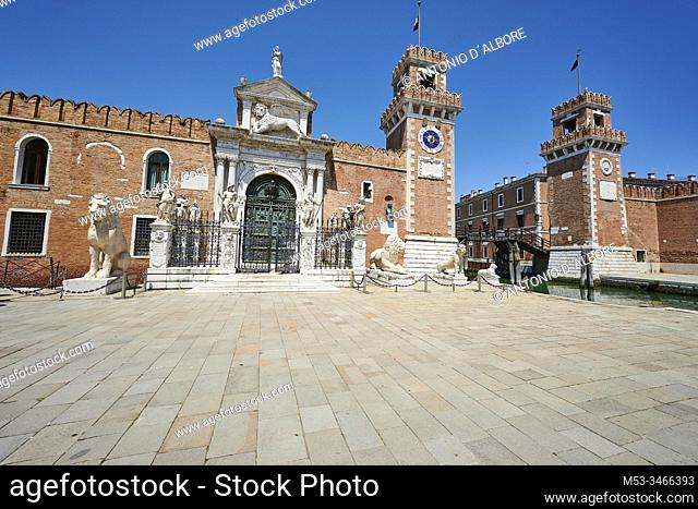 The entrance of the Venetian Arsenale, a state-owned complex of former shipyards and armories. Campo De l'Arsenal. Venezia. Veneto. Italy