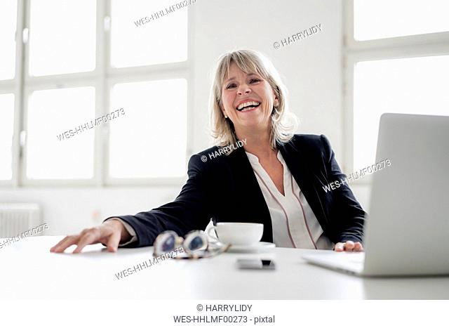 Portrait of laughing mature businesswoman with laptop at desk in the office