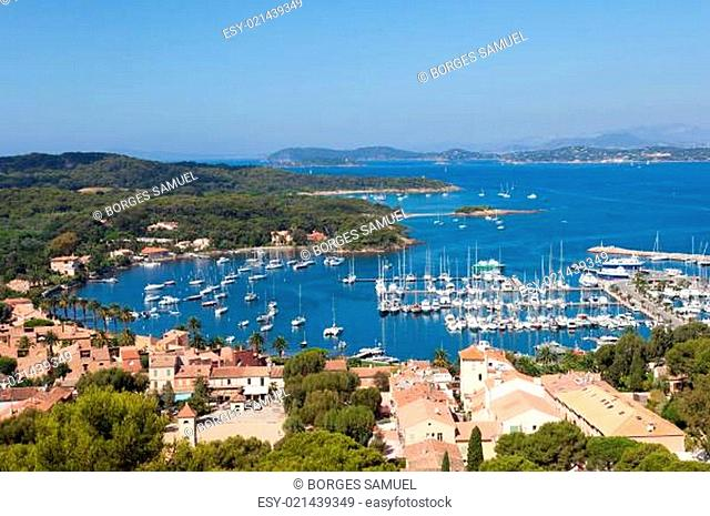View of Porquerolles island marina in France