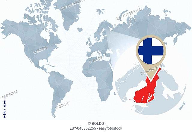 Abstract blue world map with magnified Finland. Finland flag and map. Vector Illustration