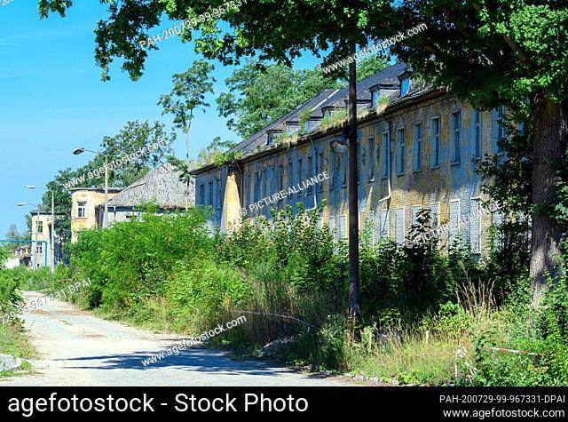 14 July 2020, Brandenburg, Potsdam: Former staff buildings with the seat of the commander on the former barracks area Krampnitz