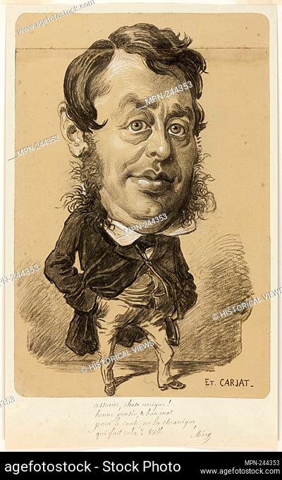 Caricature of a Man - Etienne Carjat French, 1828–1906 - Artist: Etienne Carjat, Origin: France, Date: 1848–1906, Medium: Charcoal, heightened with white chalk