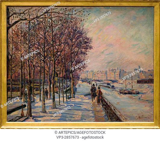 Armand Guillaumin. Paris, quai de bercy, effet de neige - Paris, Quai de Bercy, Snow Effect. 1873. XIX th Century. French school. Orsay Museum -Paris