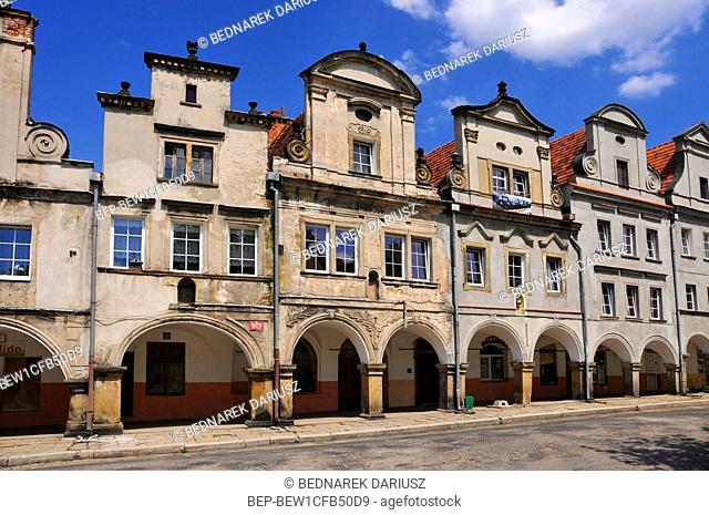 Baroque and classicist tenements at the market square in village Chelmno Slaskie, Lower Silesian voivodeship, Poland