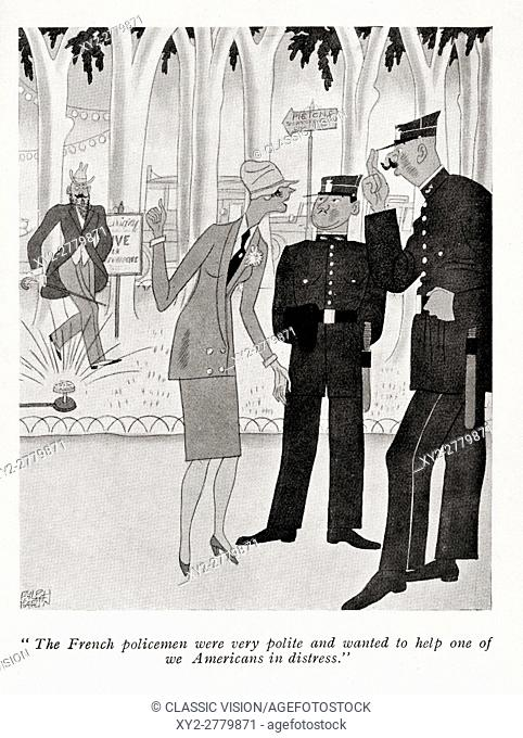 Illustration by Ralph Barton, 1891 to 1931, from the book, But Gentlemen Marry Brunettes by Anita Loos published 1928
