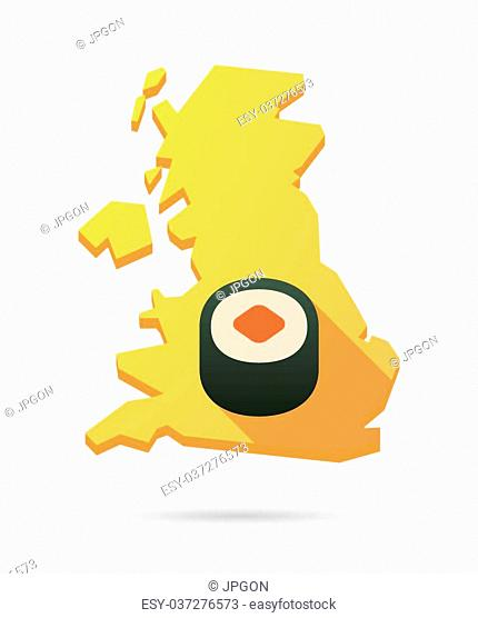 Isolated UK map icon with a sushi
