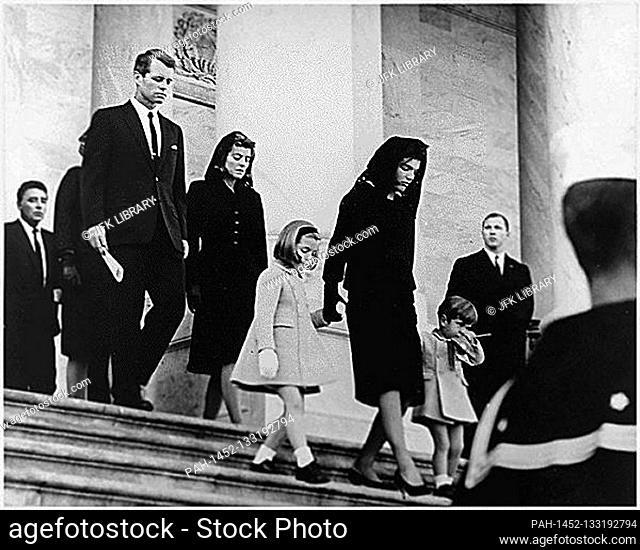 United States President John F. Kennedy's Family leaves the U.S. Capitol after Ceremony on November 24, 1963. (L-R)Caroline Kennedy, Jacqueline Bouvier Kennedy