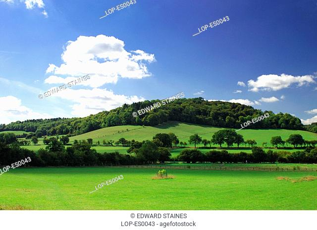 England, Buckinghamshire, Fingest, View across fields and hill with blue sky and clouds at Fingest. The name Fingest comes from the Anglo Saxon name Thinghurst...