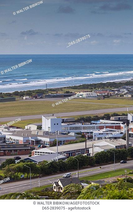 New Zealand, South Island, West Coast, Greymouth, elevated town view