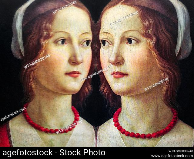 Women in Art, portrait of a young woman with red pearl necklace painted by Domenico Ghirlandaio in the year 1490, reflected in a mirror