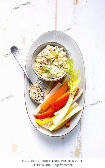 Vegetable sticks with a quark and pineapple dip