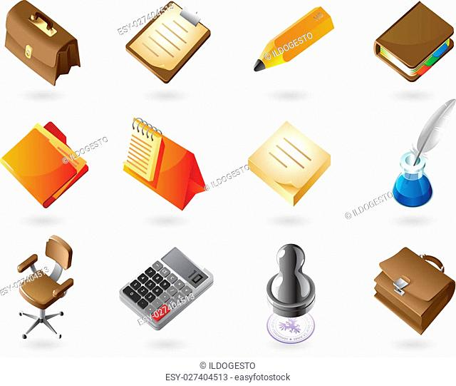 High detailed realistic vector icons for business office and stationery