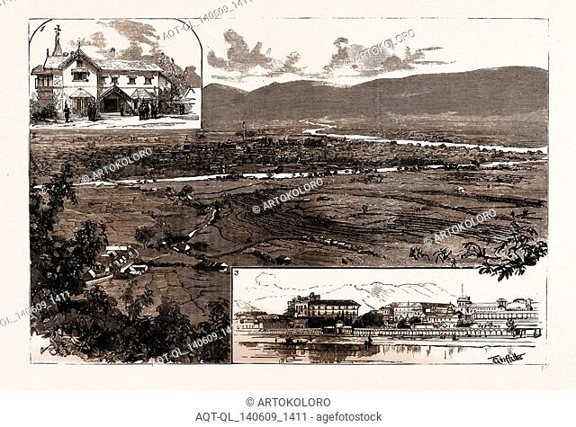 THE REVOLUTION IN NEPAL, INDIA, 1886: 1. The British Residency, Kathmandu, Nepal. 2. General View of Kathmandu and the Valley of Nepal 3