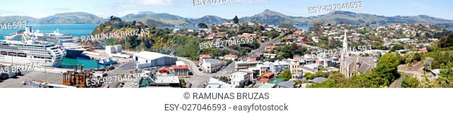 The panoramic view of Port Chalmers, little suburb district of Dunedin city (New Zealand)