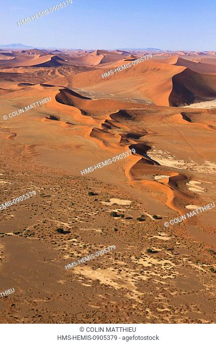 Namibia, Hardap region, Namib desert, Namib-Naukluft national park, Namib Sand Sea listed as World Heritage by UNESCO, near Sossusvlei sand dunes (aerial view)