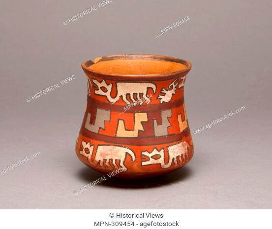 Author: Nazca. Jar Depicting Rows of Llamas and Abstract Stepped Motifs - 180 B.C./A.D. 500 - Nazca South coast, Peru. Ceramic and pigment
