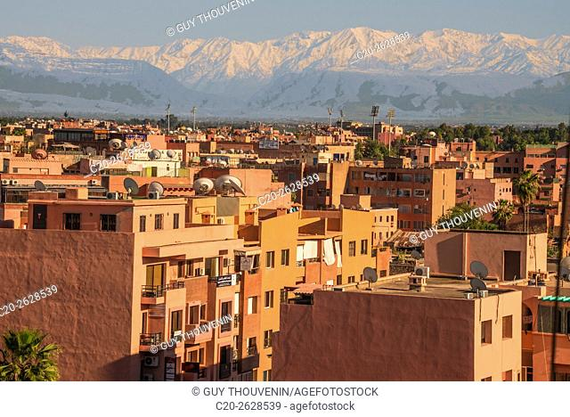 Marrakech panorama, with Atlas mountain in the backgroud, Morocco